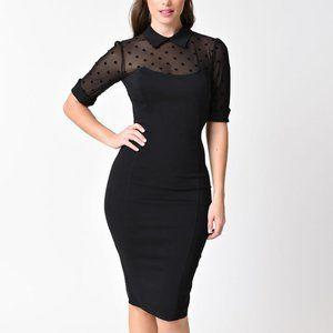 Collectif Black & Sheer Swiss Dot dress
